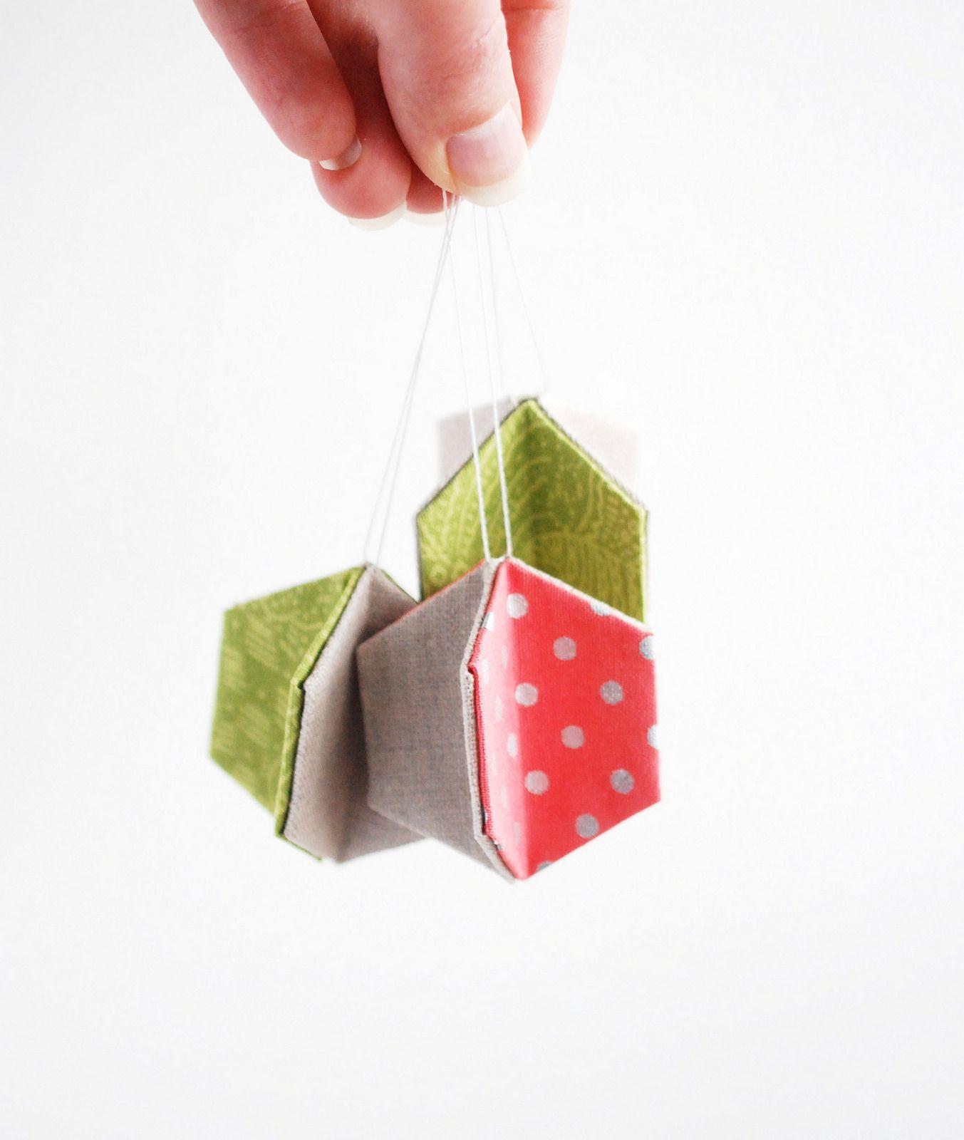 Easy hexagon christmas ornament such a cute craft for christmas