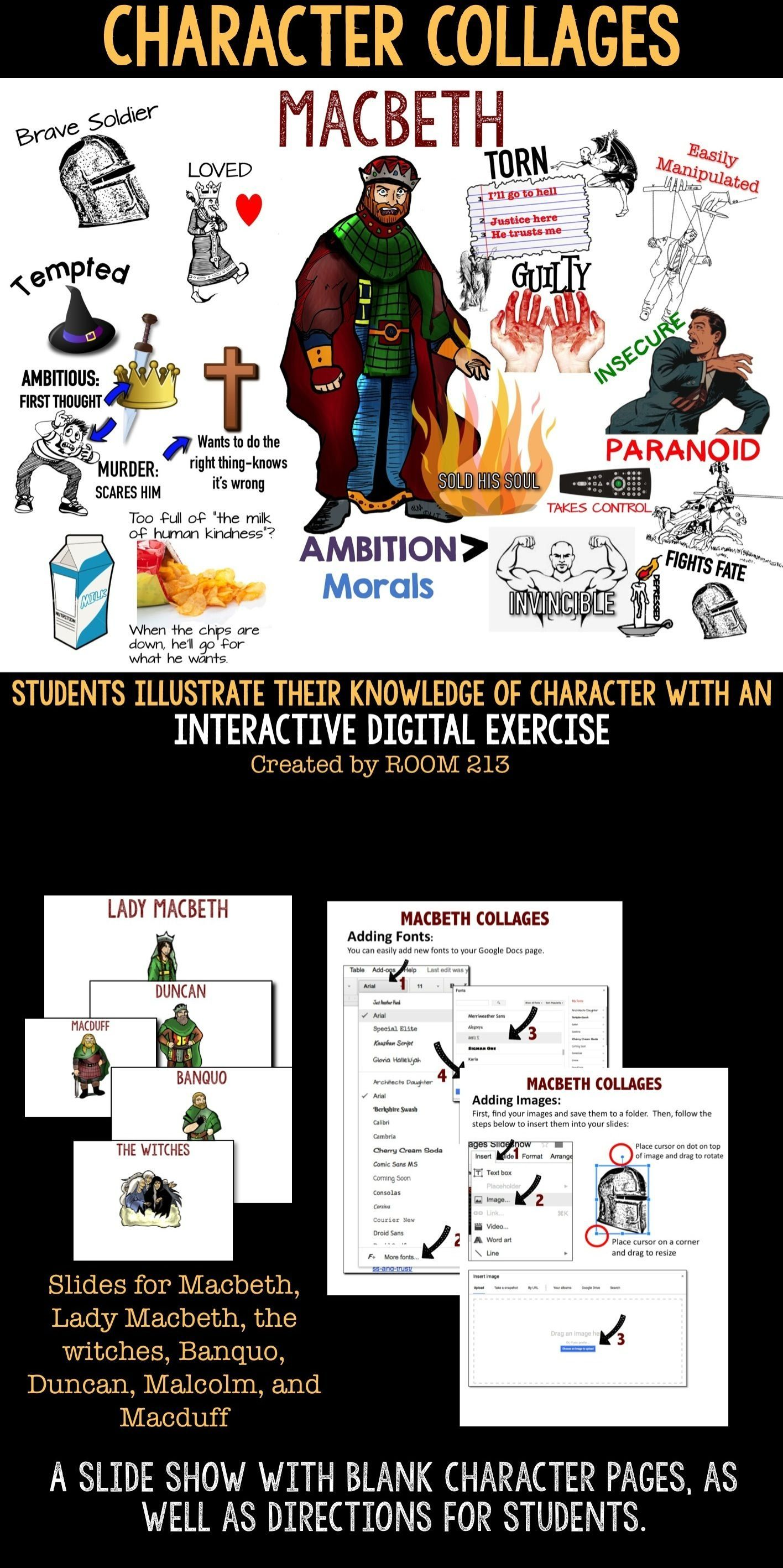 Macbeth Character Collage An Interactive Digital Activity Teaching Shakespeare Literature Lessons Ambition Essay