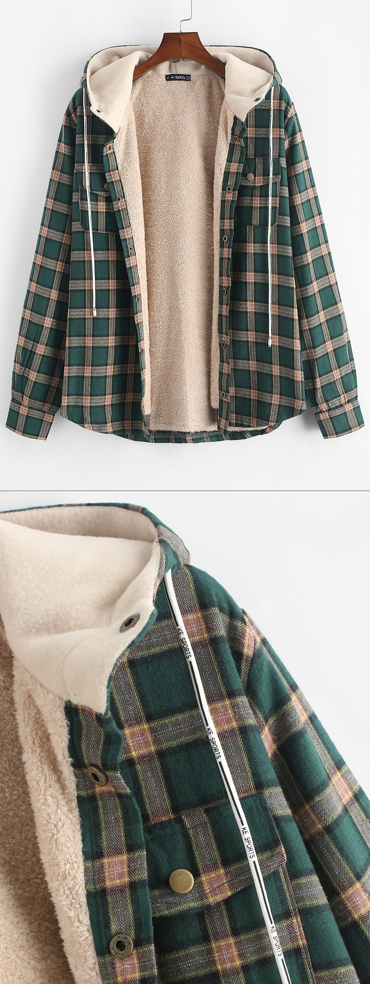 Plaid Chest Pocket Fleece Drawstring Hooded Jacket Clothes Winter Sweater Outfits Slytherin Clothes [ 3186 x 1200 Pixel ]