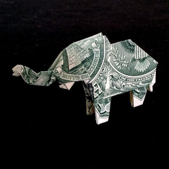 Money Origami ELEPHANT Right Side Folded With Real FIVE Dollar ... | 570x570