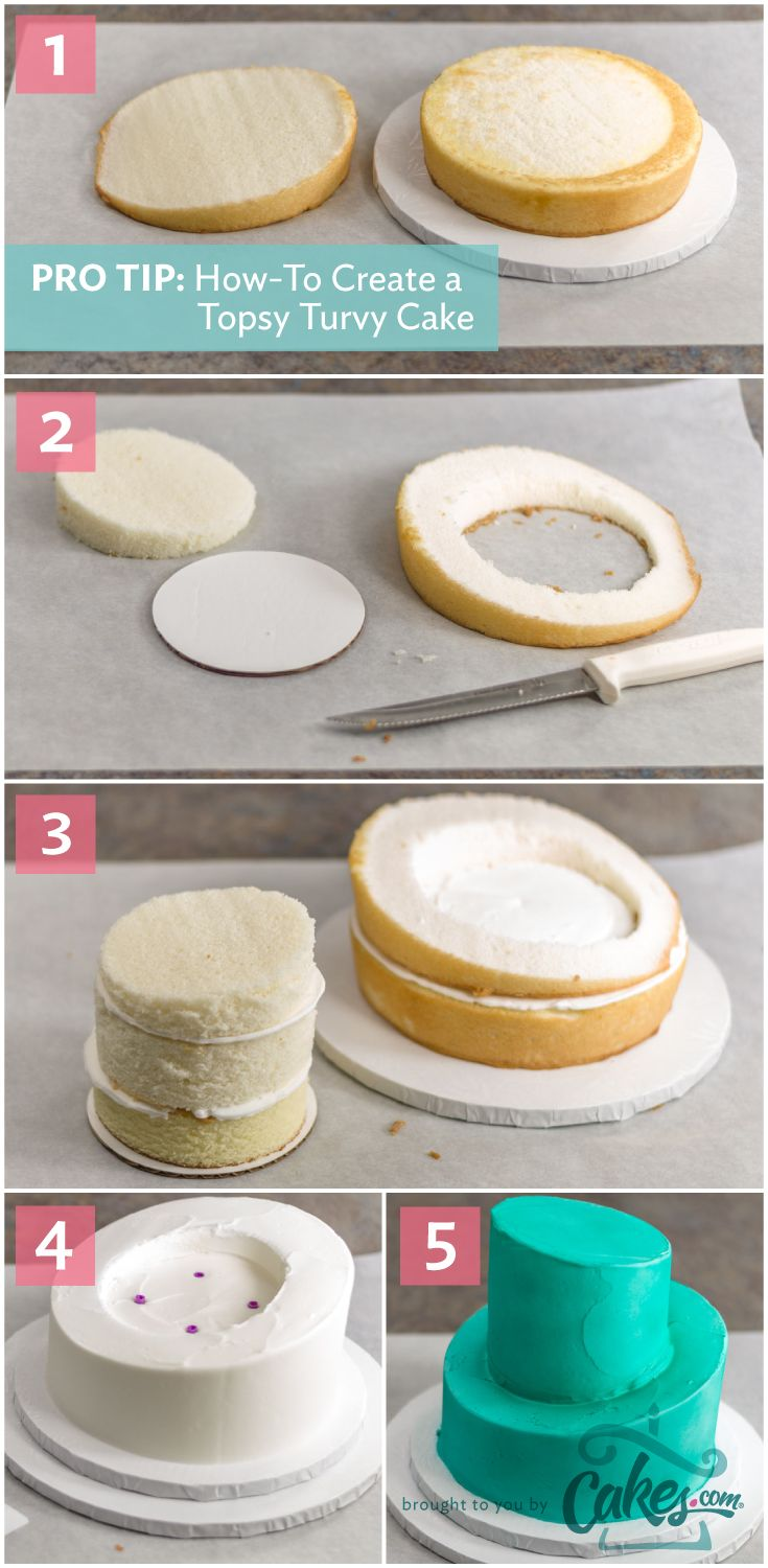 Simple Instructions For Making A Topsy Turvy Cake With Photos Cakedecorating Topsyturvy