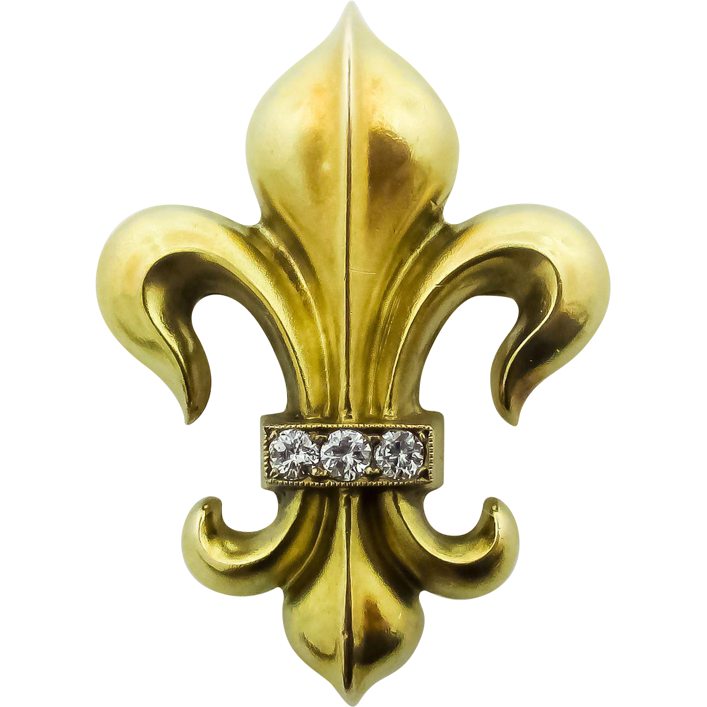 14 kt. fleur-de- lis, pin, c.1900.   Tryzub-Trident-Trinity   Pinterest