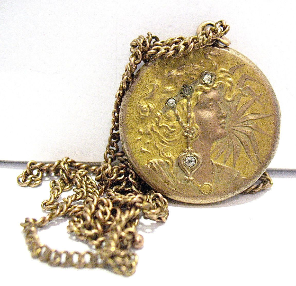 Art Deco Gold Filled Large Locket Diamonds Woman with Chain