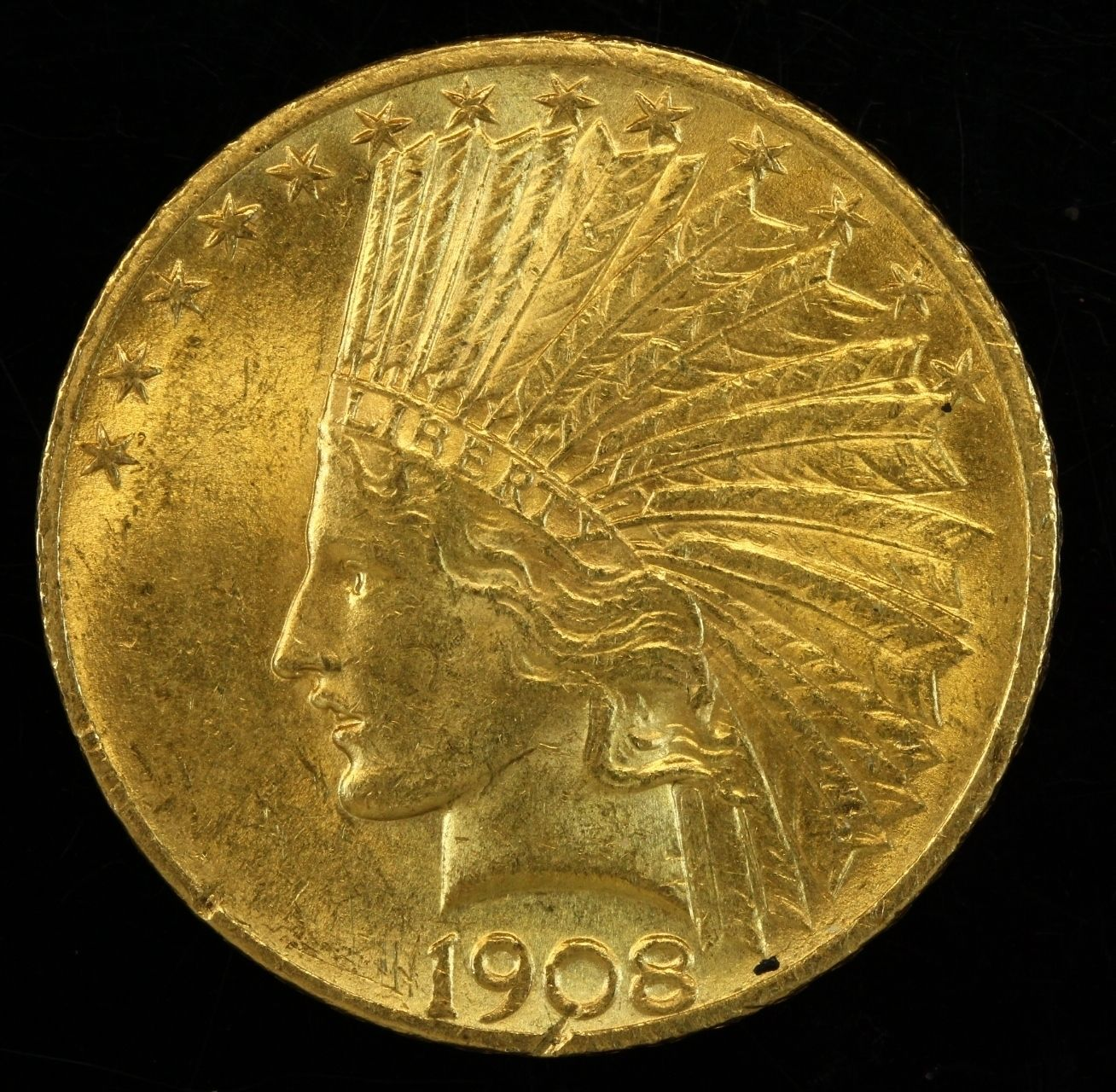 1908 Indian Head Eagle Ten Dollar Gold Coin Coins Rare Coins Old Coins