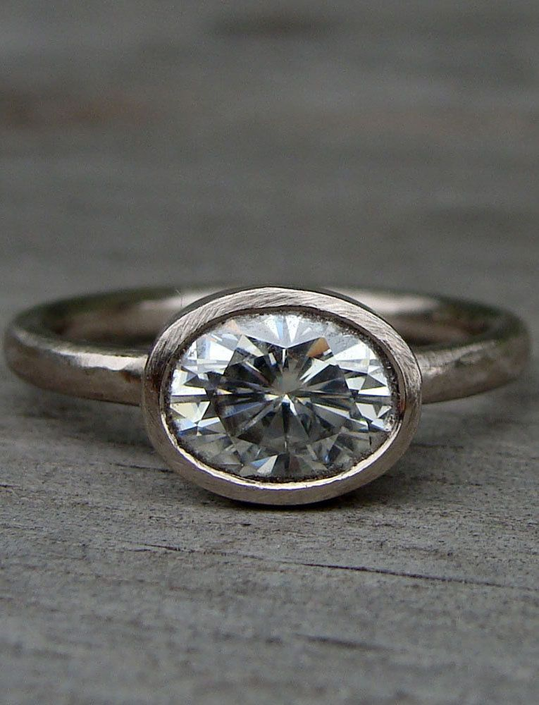 Moissanite Engagement Ring, Oval Forever Brilliant
