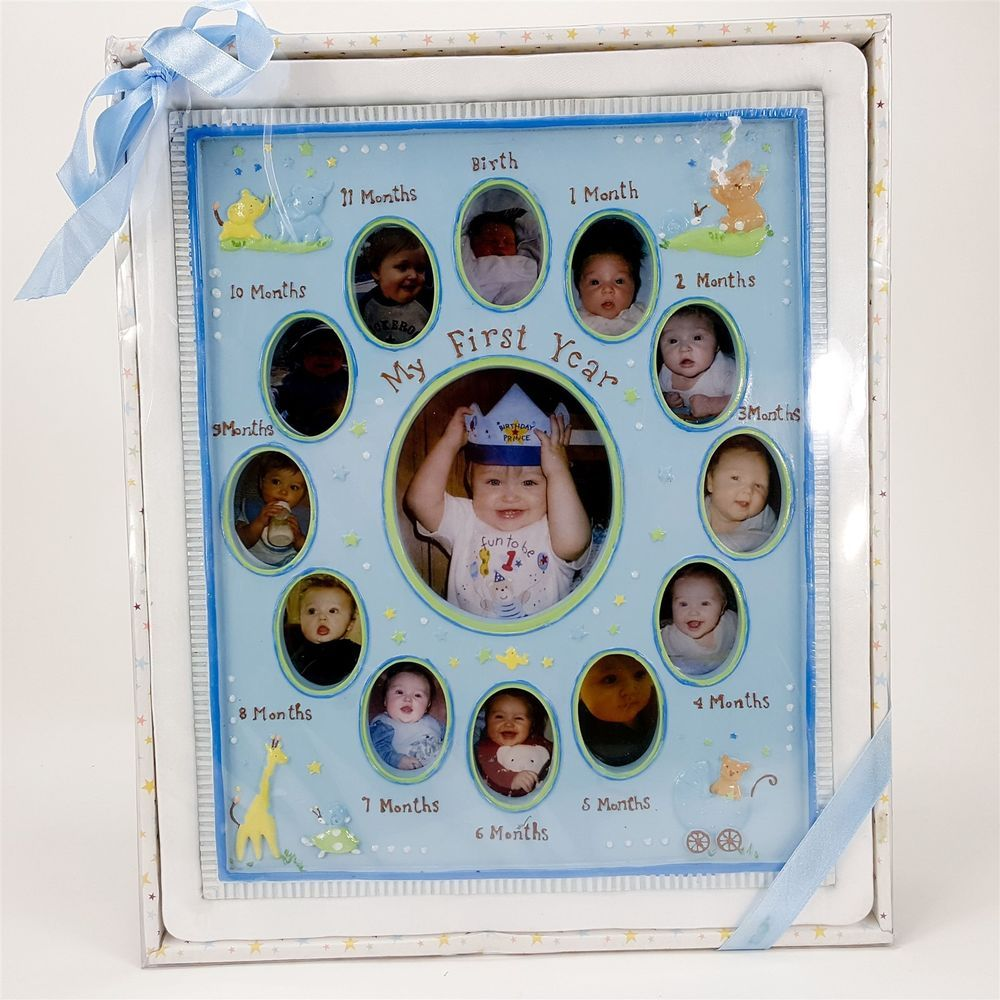 My First Year Baby 12 Month Boy Blue 12x10 Birthday Photo Frame