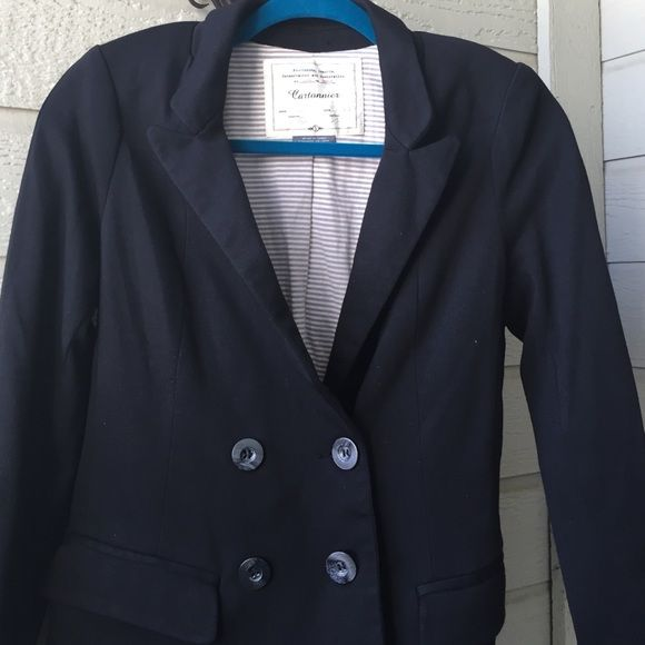 Cartonnier cotton pea coat style blazer Cartonnier cotton pea coat style blazer  size S  65% cotton 35% polyester shell and lining is a gray and white striped 95% cotton and 5% spandex blend faux front pockets buttons on the left side pea coat style Anthropologie Jackets & Coats Pea Coats