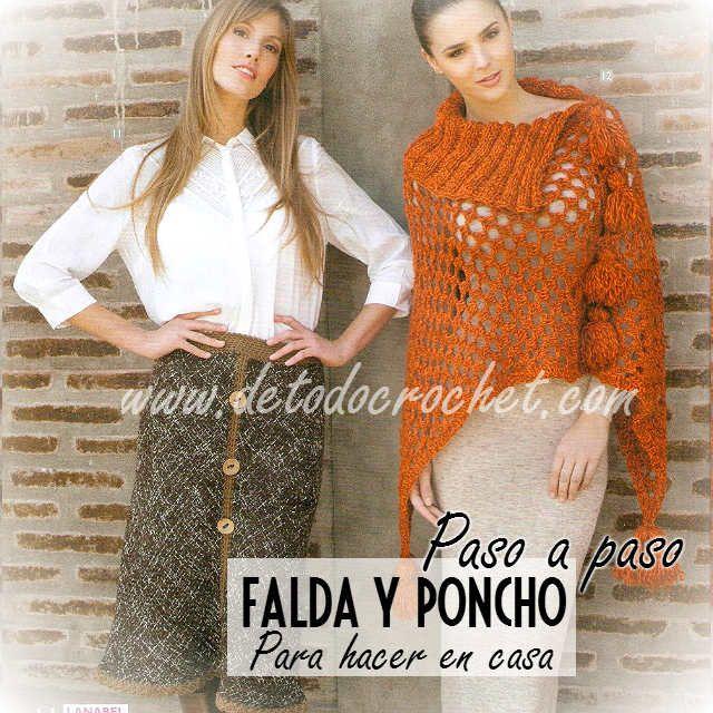 Poncho y falda en telar | crochet | Pinterest | Dos agujas, Ponchos ...