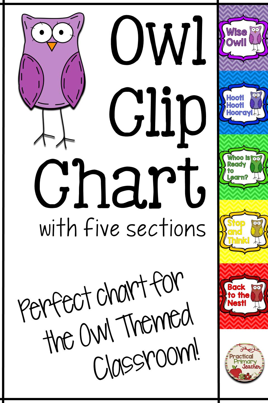 Owl Clip Chart - Chevron