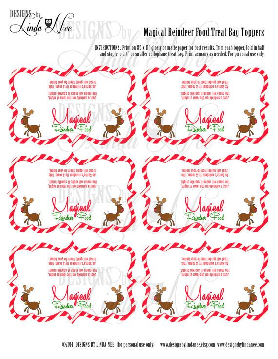 Magic Reindeer Food - Treat Bag Topper - Printable treat bag toppers