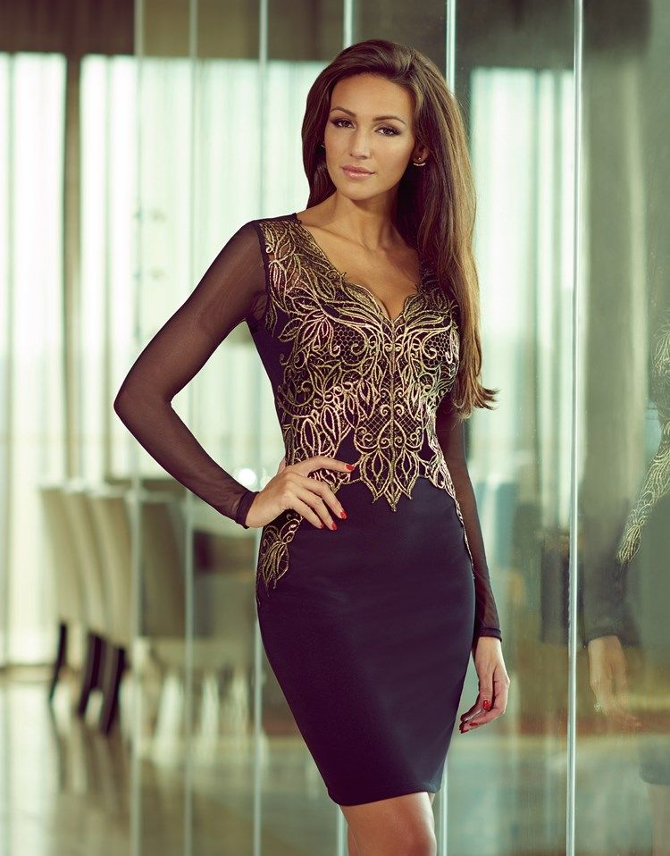 e20a7fdc Lipsy Love Michelle Keegan long sleeve bodycon dress. Featuring a gold  foiled lace applique trim to the front, and button keyhole back.