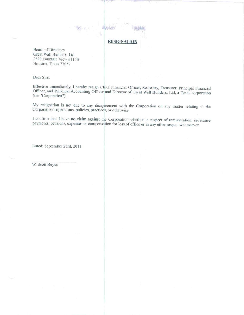 Professional Resignation Letter Samples Home Claim Sample Doc