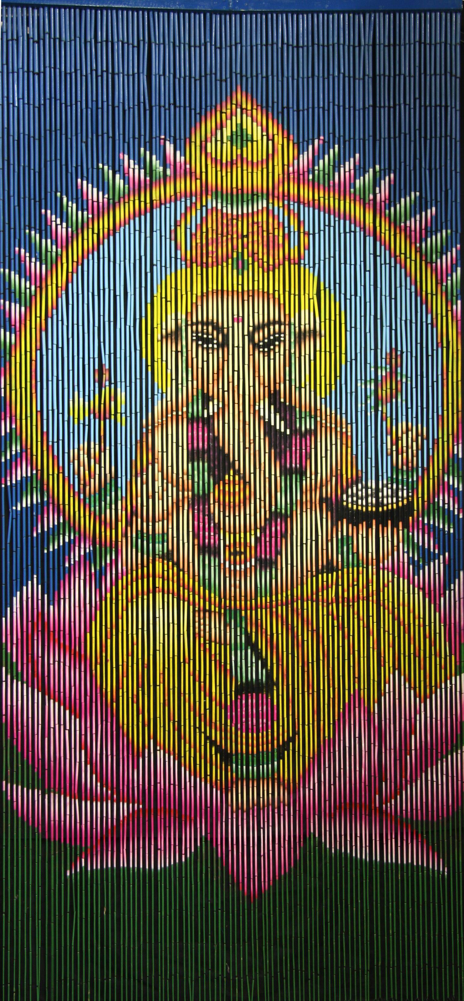 Beaded Door Curtains Panels Custom Painted String Bead Room Divider Hanging Bamboo Wooden Hippie Curtain Doorway with Beads 4 Door Window
