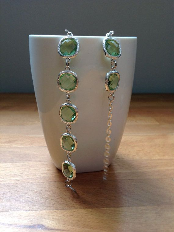Silver and light green framed crystal bracelet. by PetalJewels