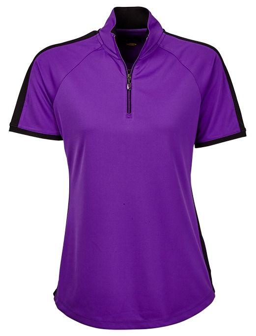 El Morado (Purple) Greg Norman Ladies Contrast Trim Short Sleeve Golf Polo Shirt available at @lorisgolfshoppe