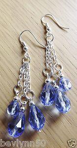 BlueTriple Dropper Earrings on 925 silver hooks