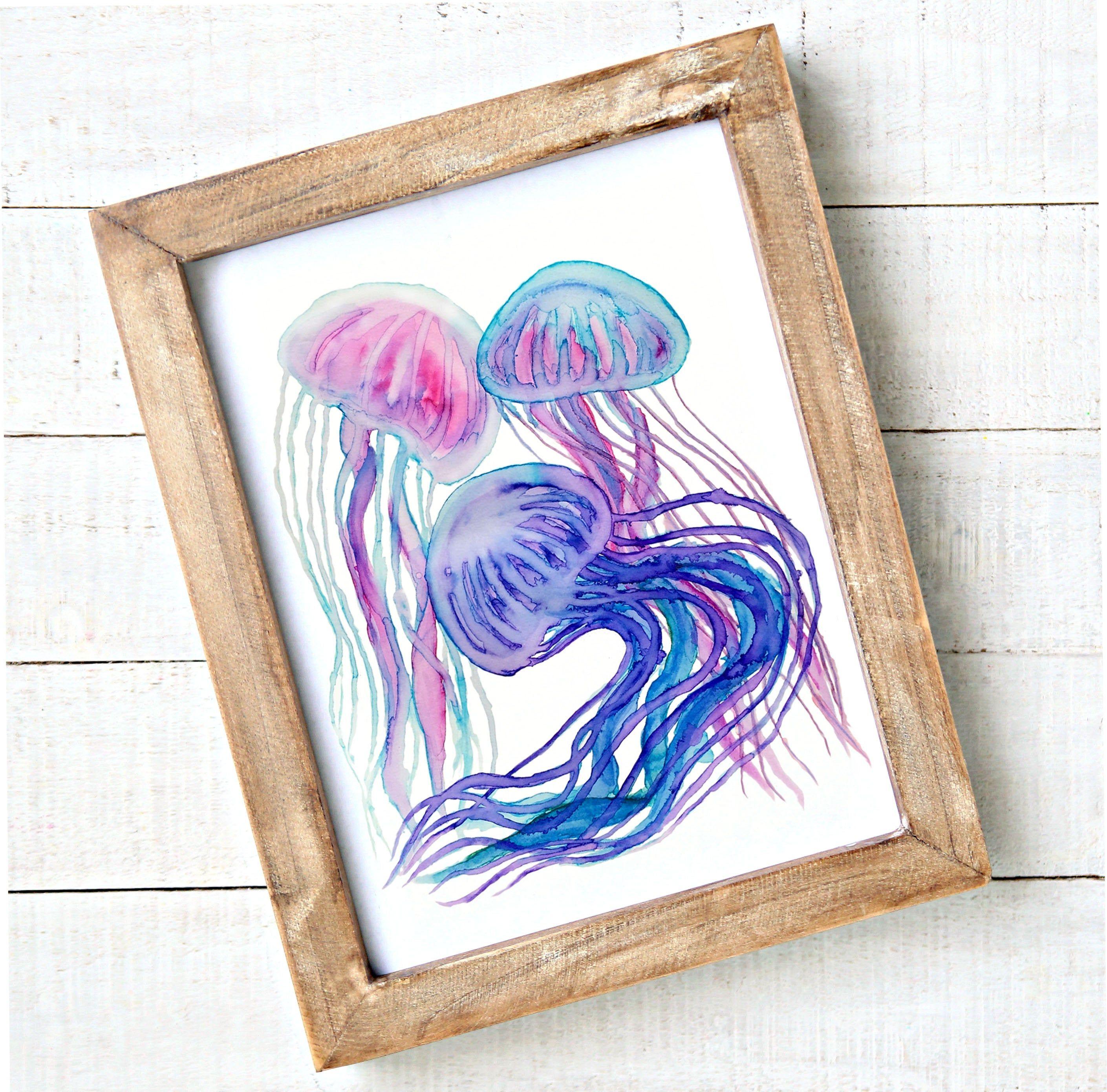 Jellyfish Watercolor Printable Wall Art Instant Download Etsy Wall Art Instant Download Watercolor Printable Printable Wall Art