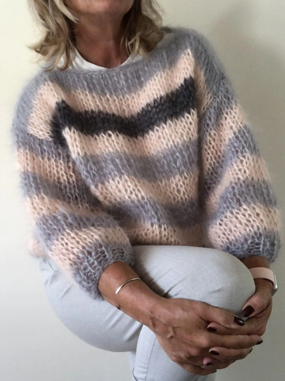 Casual Over Sized Striped Sweater Pullover