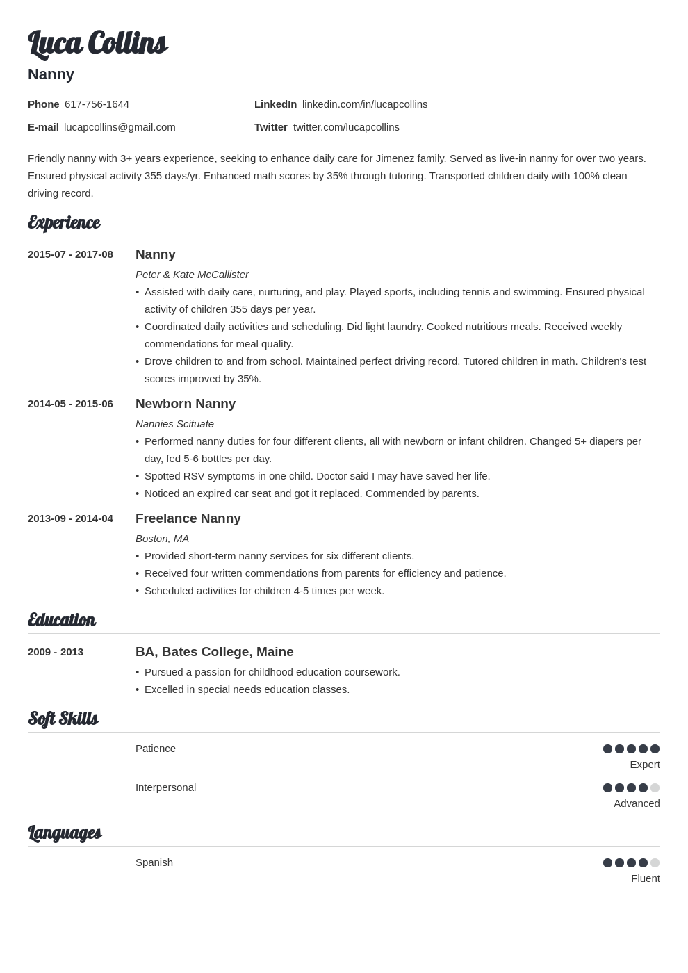 nanny resume example template valera in 2020 Resume