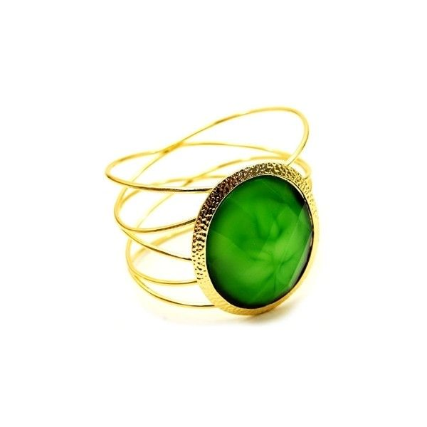 Janae's Green Stone Intertwined Gold Wire Cuff Bracelet, found on polyvore.com   Only $40.00