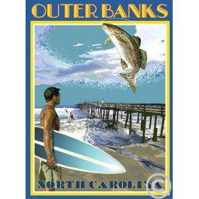 Vintage Art Deco Style Travel Poster-by Aurelio Grisanty Ocracoke Island Ferry
