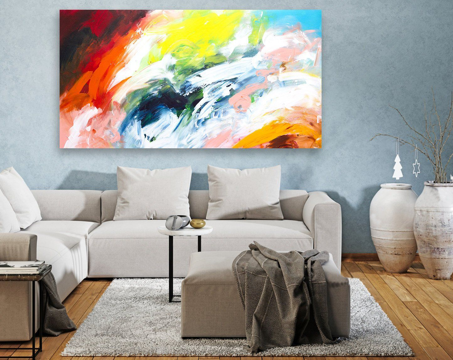 Extra Large Wall Art, Panoramic Original Paintings, Abstract ...