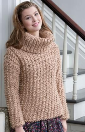 Free Knitting Patterns Chunky Jumper : Chunky Textured Sweater Free Knitting Pattern from Red Heart Yarns New, New...
