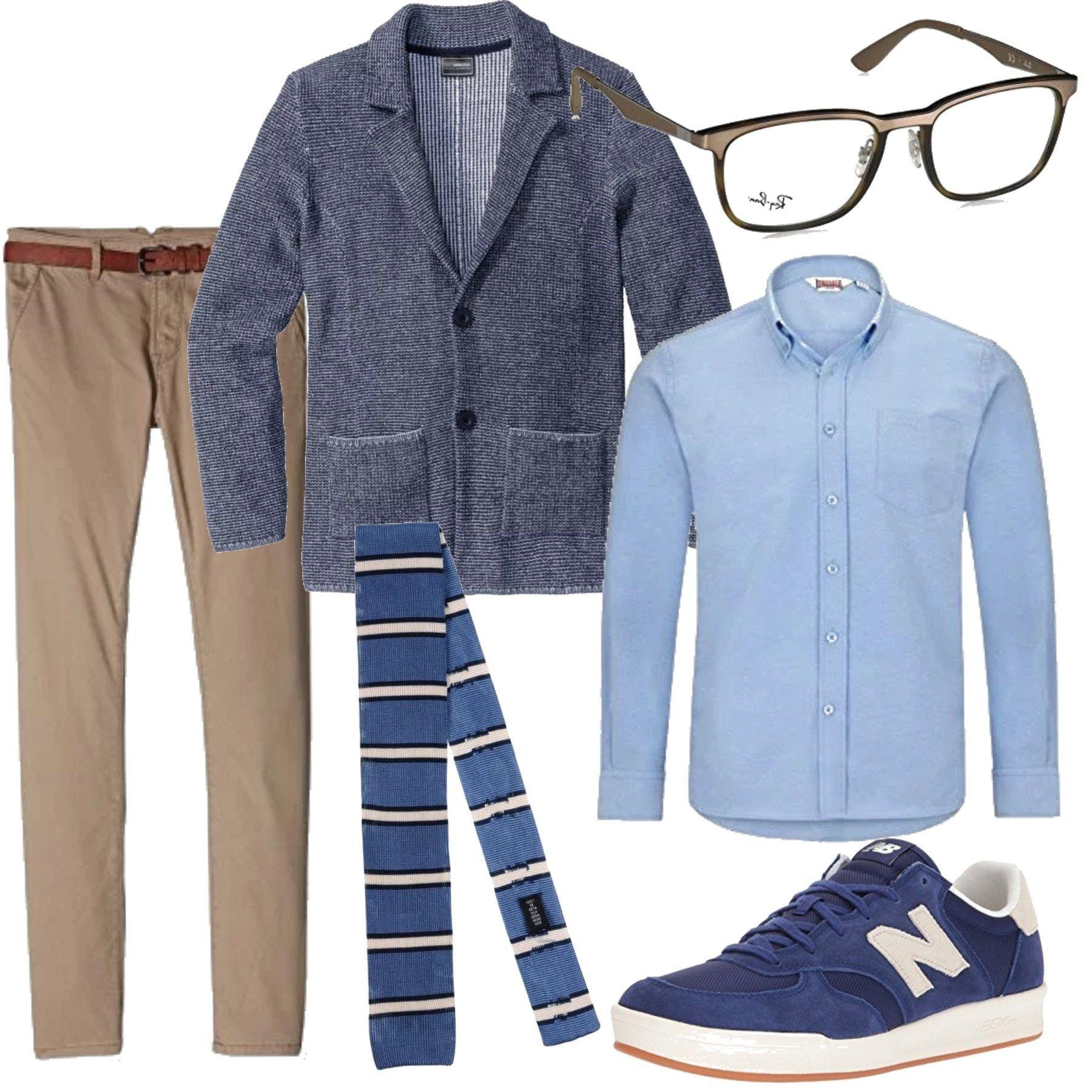 La cravatta in maglia blu a righe bianche e nere il - Color fango abbinamenti ...