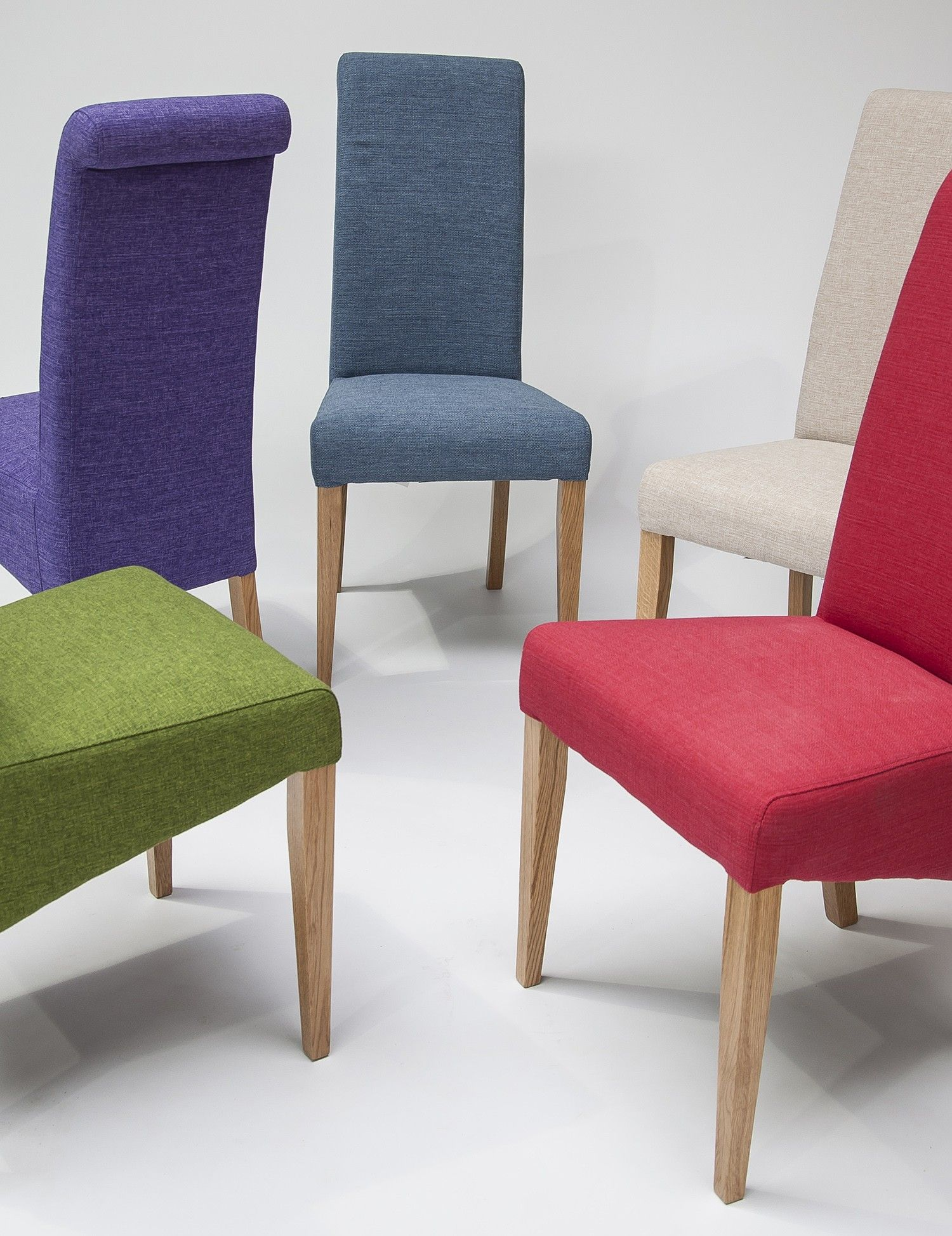 Tivoli Oak Fabric Rollback Chair Teal Pair Dining Chairs