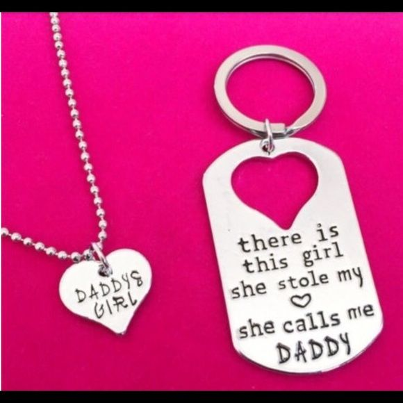 Twin keychain and Necklace Daddy Daughter Keychain and Necklace Jewelry Necklaces