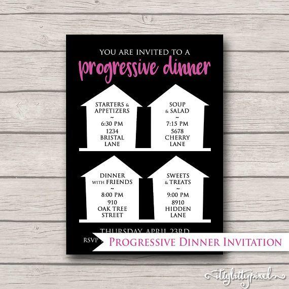 Progressive Dinner Party Invitation Announcement Card