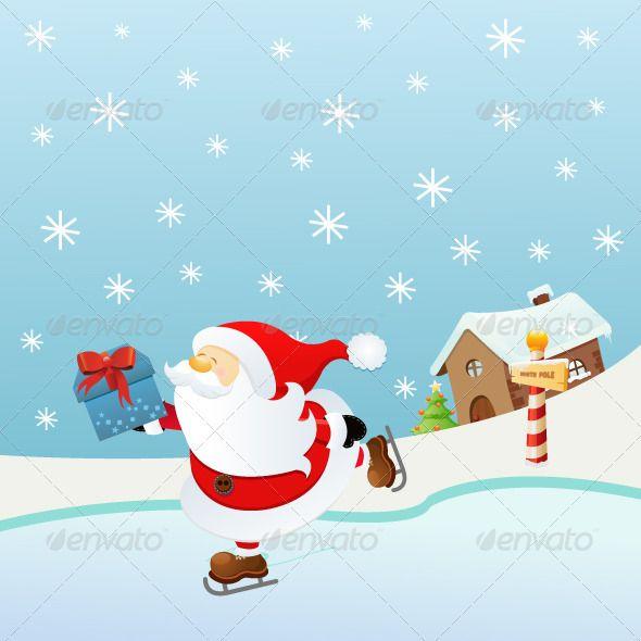 Ice Skating Santa — JPG Image #decoration #illustration • Available ...