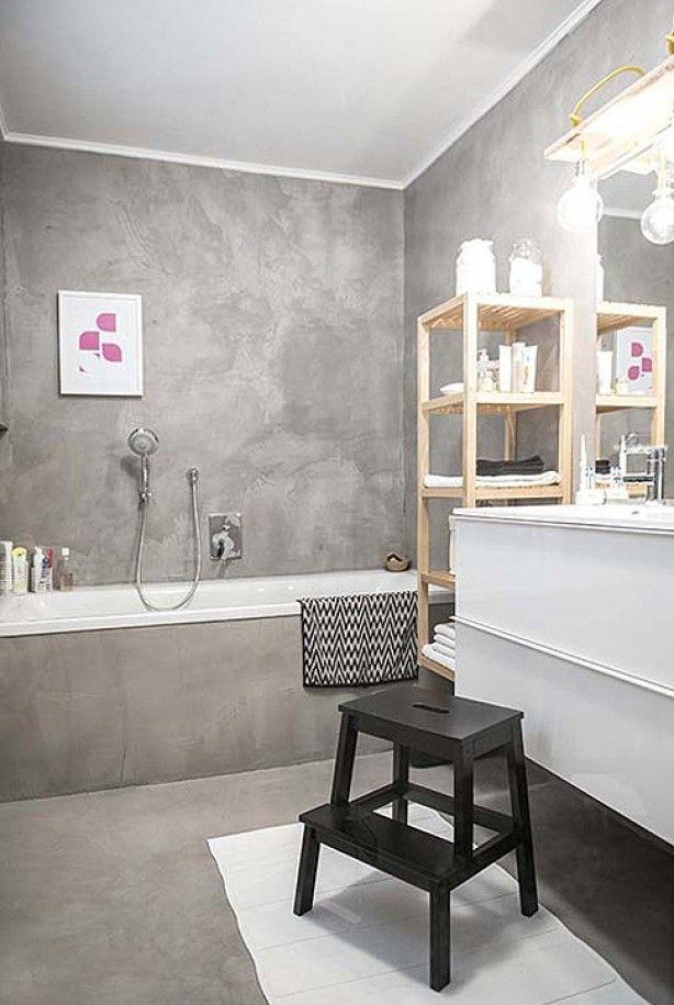 Grijze badkamer, Italiaans stuc op de muur op de vloer en op de ...
