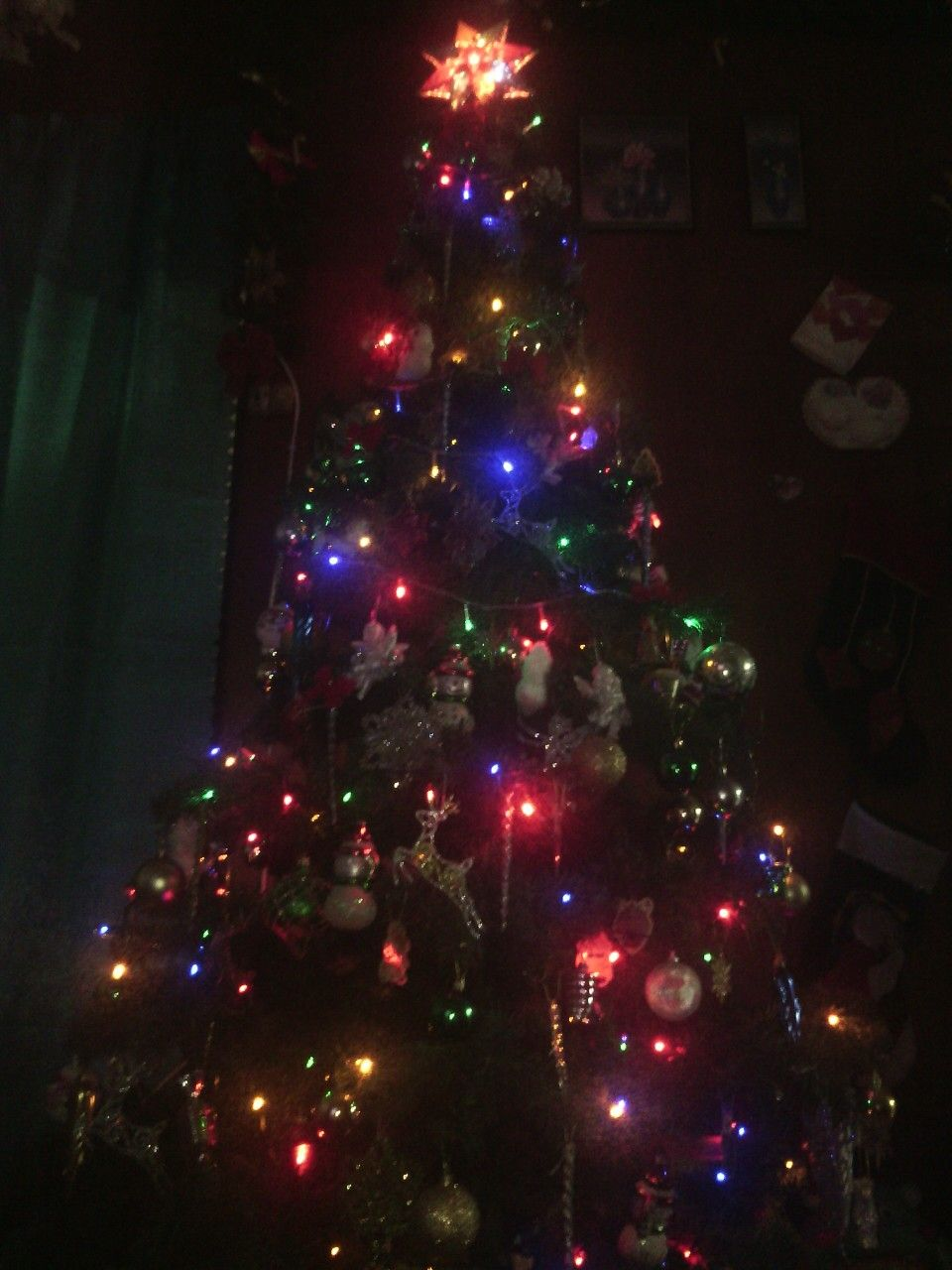 christmas tree with multicolored led lights