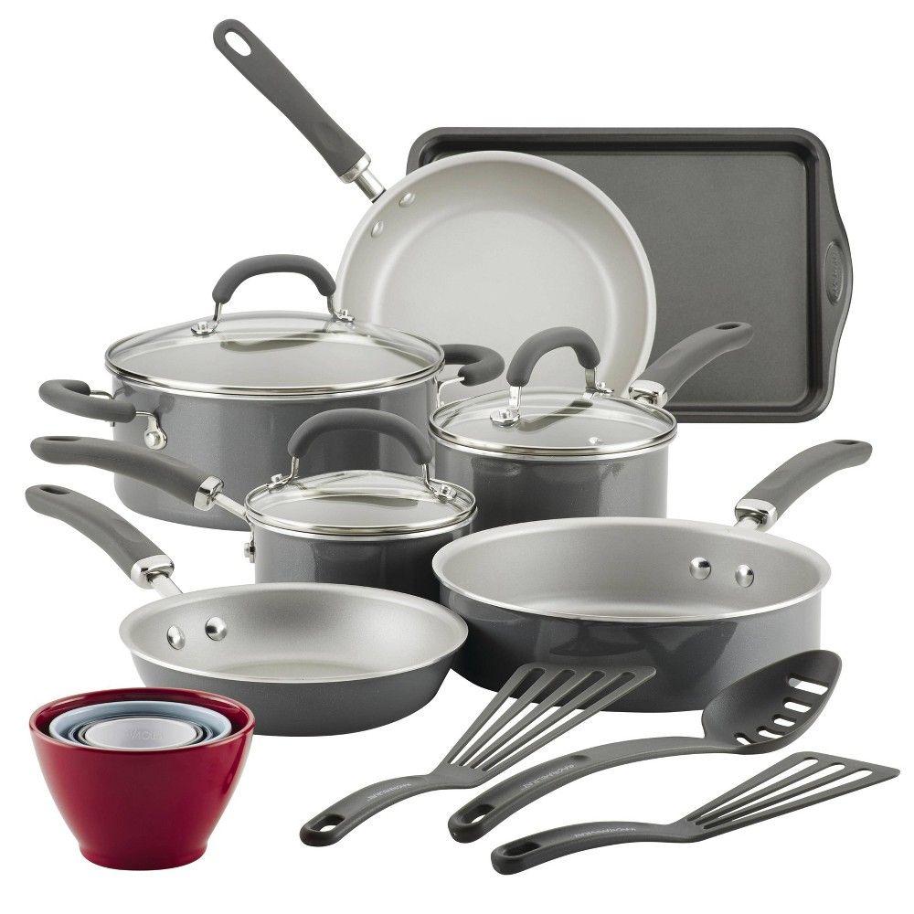 Rachael Ray Create Delicious 18pc Aluminum Nonstick Cookware Set