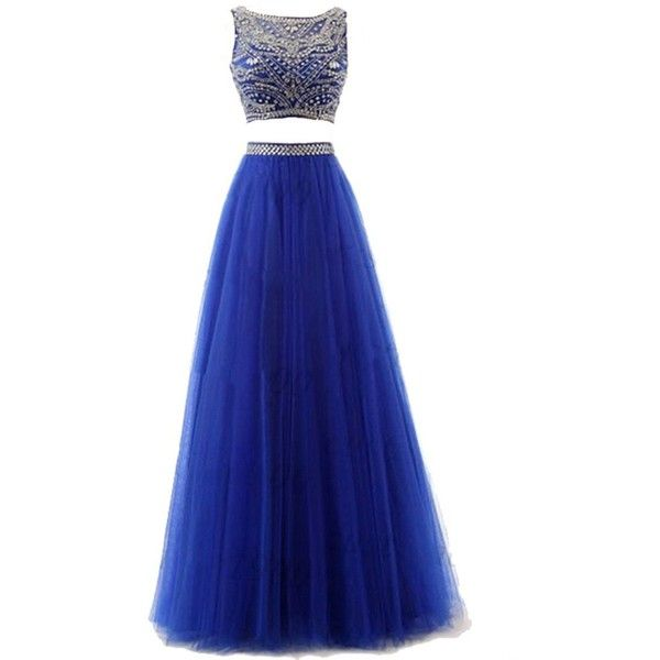 Sisjuly Women's Crystal Two Pieces Ball Gown Prom Dress with... (78 AUD) ❤ liked on Polyvore featuring dresses, gowns, vestidos, blue dress, blue sleeveless dress, sleeveless dress, blue prom gown and prom ball gowns
