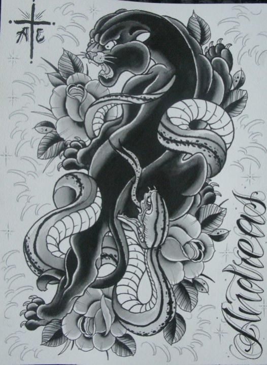 Have snake and flowers around ship n tea cup, have snake as top of sleeve?