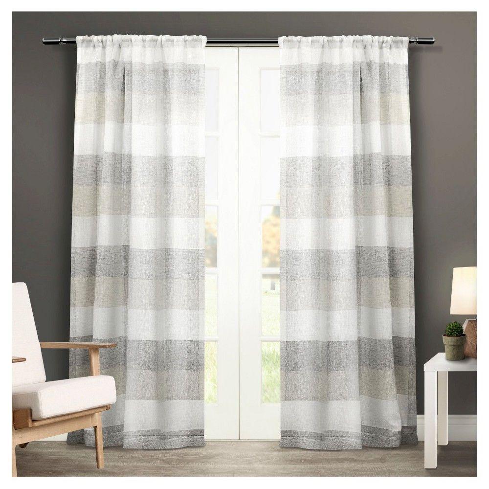 Office window coverings  set of  bern rod pocket window curtain panels dove grey