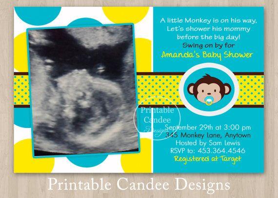 Mod Monkey Boy Baby Shower Invitation Custom By