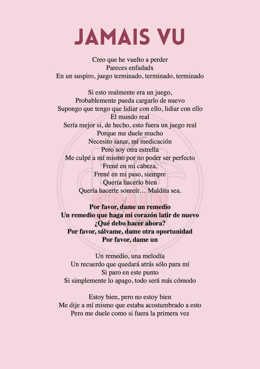 Bts Spain Slow S Tweet Traducción Letra De Jamais Vu Traducida Al Español Bts Twt Trendsmap Letras Letras De Canciones Bts Letra