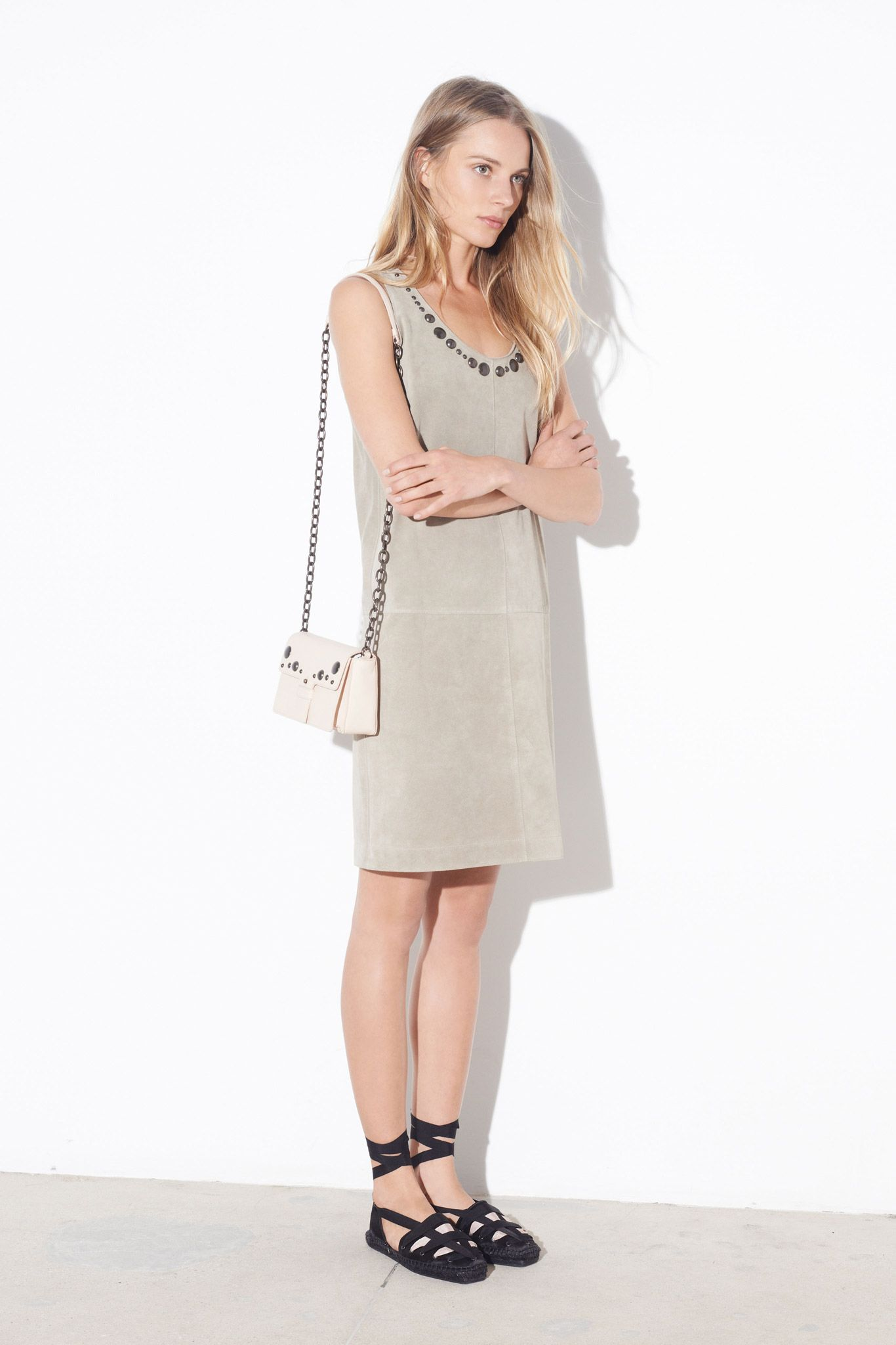 Tomas Maier | Spring 2015 Ready-to-Wear | 34 Grey suede studded strappy mini dress