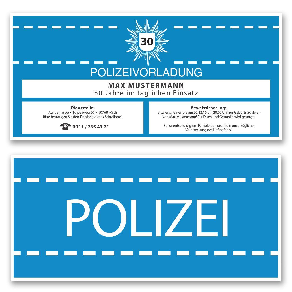 Einladungskarten zum Geburtstag als Polizeivorladung Polizei ...