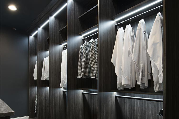 LED lights build in to wardrobes shelves. (With images
