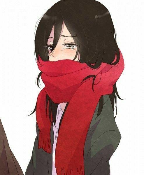 Mikasa Ackerman, sad, crying, young, childhood, scarf, Eren, hand