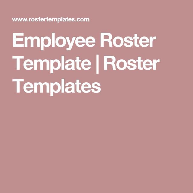 Employee Roster Template  Roster Templates  Files