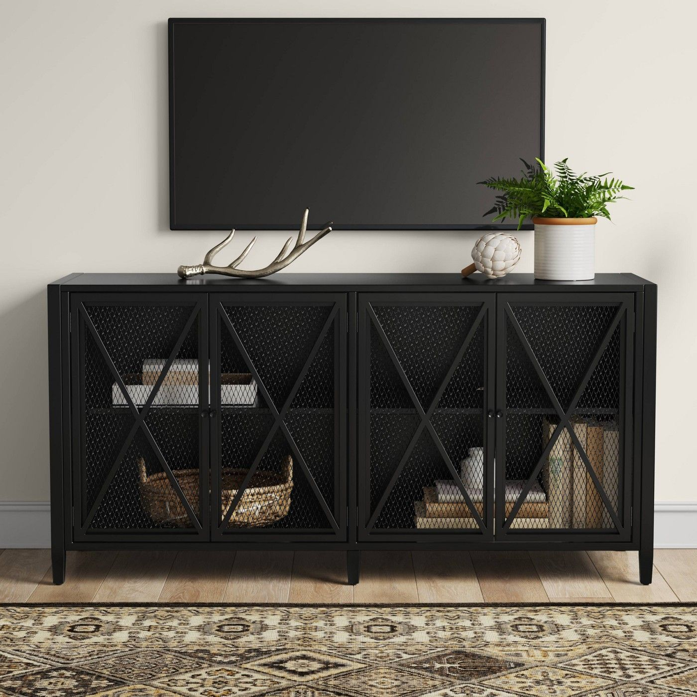 Fairmont Metal Tv Stand With Storage Black Threshold Metal Tv