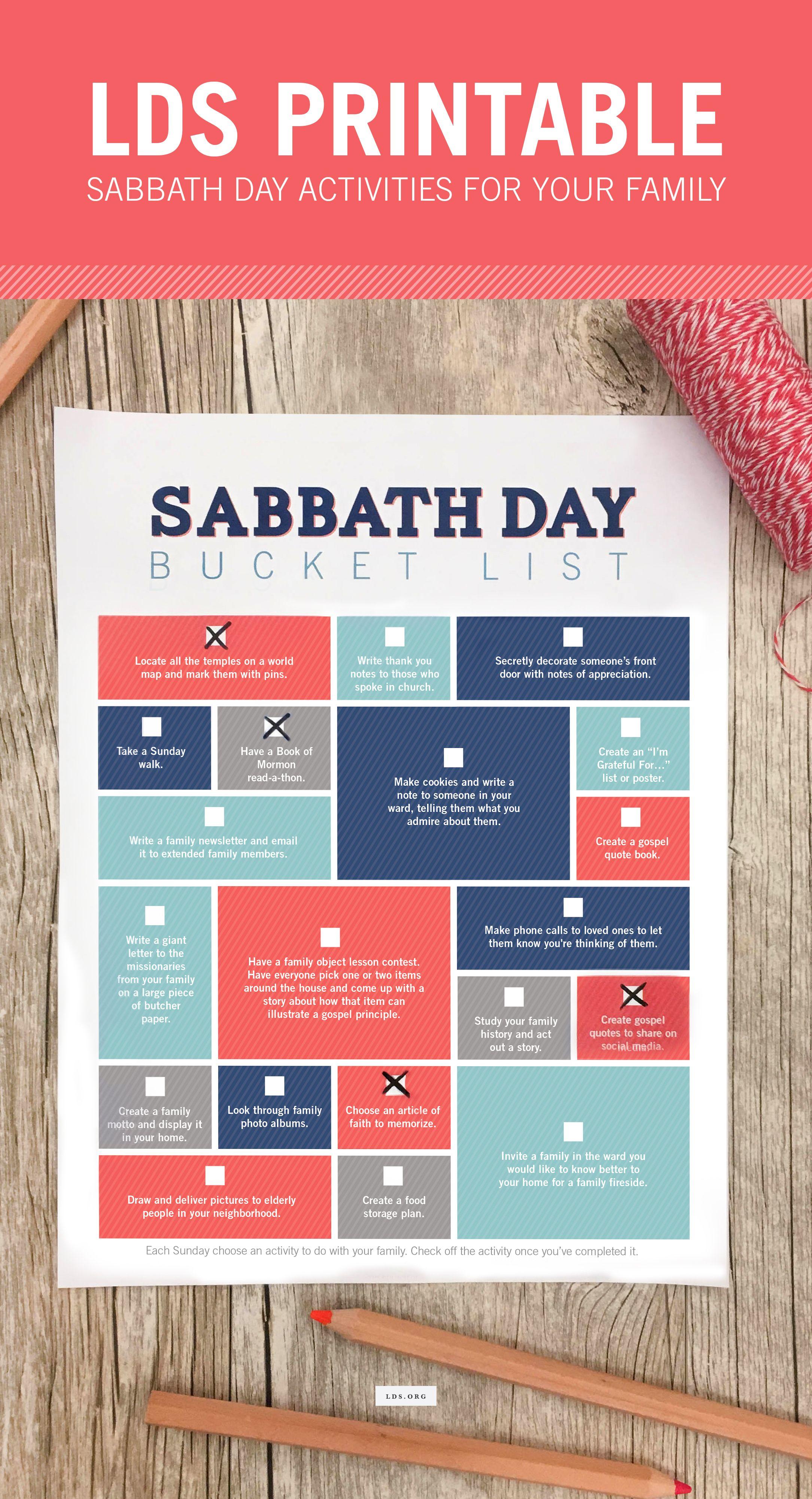 Printable-Sabbath Day Bucket List-Each Sunday choose an activity to ...