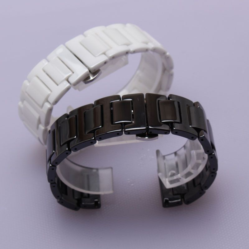 4f333d1555e Click to Buy    Silver stainless steel buckle Ceramic Black white Watchband  straps