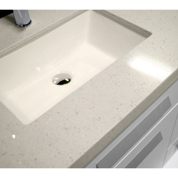 Design Element Moscony 84-inch Quartz Double Sink Pearl White ...