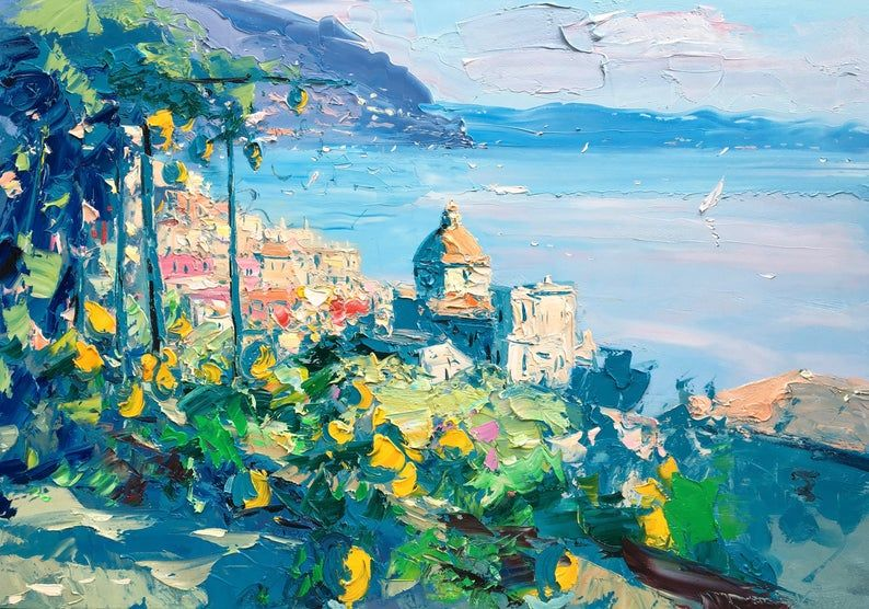 Positano Wall Art Canvas Prints Amalfi Coast Print Italy Etsy In 2020 Seascape Paintings Seascape Wall Art Painting